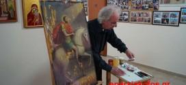 ΣΤΟ ΚΕΦΑΛΙ ΚΙΣΑΜΟΥ  –  Συντήρηση αγιογραφίας με τον Άγιο Ισίδωρο από τον Νίκο Γιαννακάκη (Και βίντεο)