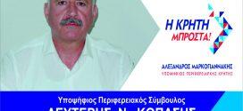 """Υποψήφιος με τον συνδυασμό """"Η ΚΡΗΤΗ ΜΠΡΟΣΤΑ"""" Ο Ελευθέριος Κοπάσης"""